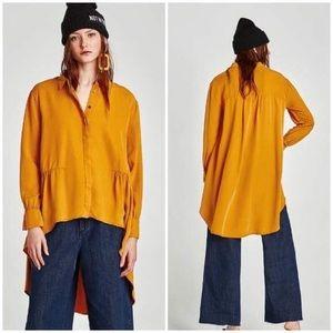 Zara Mustard Long Blouse